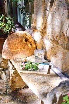 in the garden~stone bench French Country Cottage, French Countryside, French Farmhouse, Country Life, Outdoor Retreat, Outdoor Rooms, Outdoor Living, La Provence France, Under The Tuscan Sun