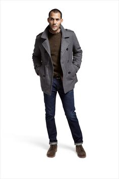 Double-breasted wool-and-cashmere peacoat ($795) by Allegri; wool sweater ($79) by L. L. Bean Signature; cotton shirt ($50) by Gap; cotton jeans ($286) by True Religion Brand Jeans; suede boots ($510) by Rag & Bone; leather belt ($80) by Cole Haan