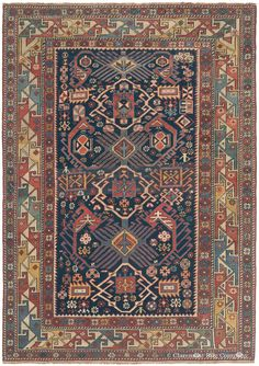 Caucasian Bidjov Shirvan, 3ft 10in x 5ft 6in, 3rd Quarter, 19th Century.  Radiant, expressive medallions are but one of the entrancing graphic accents of this powerful Caucasian antique carpet, perfectly expressing a zest for life common to its high mountain tribal weavers.