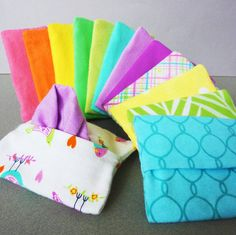 A very simple accessory that will come in handy time and again. Choose from beautiful spring patterns and colors to create the perfect set of soft hankies and a cute travel size case to carry them around in. Everything completely washable and reusable. These handkerchief are stylish,