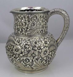 Tiffany Hand Chased Antique Silver Pitcher