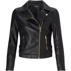 Miss Selfridge Black Faux Leather Biker ($49) ❤ liked on Polyvore featuring outerwear, jackets, black, sale, leather look jackets, fake leather jacket, vegan biker jacket, vegan leather jacket and vegan jackets