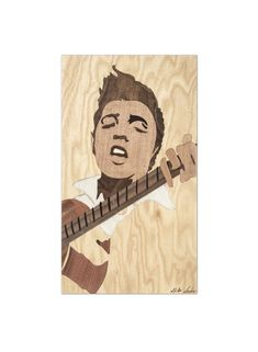 ORIGINAL Wooden Elvis Presley marquetry portrait home decor woodworking gift by Andulino Original Marquetry made from various wood veneers.    A minimalist fanart of the famous singer, Elvis Presley.     Size and Weight:   35 x 20 cm (~ 13.8 x 7.9 inch)