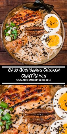 This ramen recipe is packed with authentic and spicy flavors! We give the savory miso ramen pack a kick by adding gochujang sauce to our boneless chicken breasts and kimchi as one of many delicious toppings. Ramen Recipes, Gourmet Recipes, Asian Recipes, New Recipes, Dinner Recipes, Cooking Recipes, Healthy Recipes, Cooking Blogs, Japanese Recipes