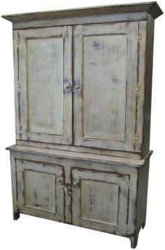 Cottage Chic TV Cabinet White on Java Primitive - Made to Order Country Cottage Furniture. $2,756.00, via Etsy.