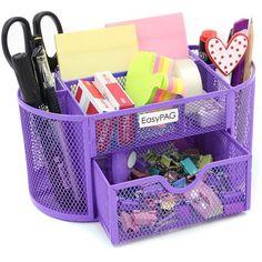 Desk Organizer Purple ($10) ❤ liked on Polyvore featuring home, furniture, desks, accessories, purple furniture and purple desk