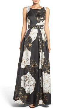 Eliza J Belted Metallic Jacquard Gown (Regular & Petite) available at #Nordstrom