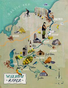 Illustrated Map of the Warnow River / Germany /  Tilo Richter / Illustrator from Hamburg