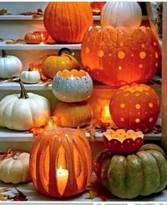 Halloween decor pumpkins Carve a Pattern - Fabulous Fall Decorating Ideas - Southernliving. Turn standard grocery store pumpkins into decorative votive holders that are embellished with polka-dot cutouts. How To Make It: Decorative Pumpkin Votive Holders Theme Halloween, Holidays Halloween, Halloween Pumpkins, Halloween Crafts, Holiday Crafts, Holiday Fun, Happy Halloween, Chique Halloween, Halloween 2017
