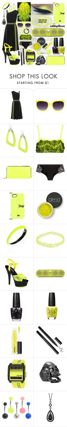 """""""stinger like a yellow jacket 🐝"""" by ashleythesm ❤ liked on Polyvore featuring Christopher Kane, Alexis Bittar, Comme des Garçons, La Perla, Rebecca Minkoff, Blend Minerals, Pleaser, Beats by Dr. Dre, OPI and MAC Cosmetics"""
