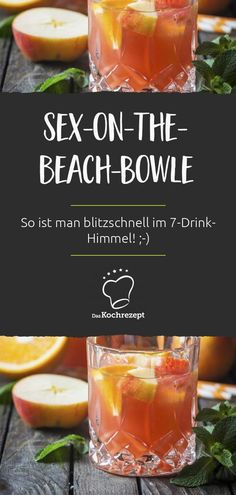 Doesn& Sex-on-the-Beach-Bowle sound like the best you& ever heard? Take the classic cocktail and add white wine, apple juice and a few piec. Party Drinks, Cocktail Drinks, Cocktail Recipes, Alcoholic Drinks, Cocktail Shaker, A Food, Food And Drink, Grill Party, Beer Mugs