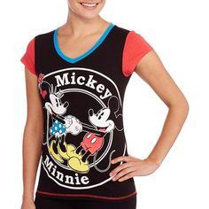 Women's Mickey Minnie Coordinating V-Neck Sleepshirt (Sizes S-3X) - Walmart.com