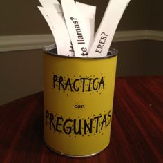 "Introducing my ""PRÁCTICA con PREGUNTAS"" can. It's a great way for students to practice asking & answering questions in the target language. Each time we learn something new, I put a new questio. Spanish Classroom Activities, Spanish Teaching Resources, Class Activities, Classroom Ideas, Spanish Worksheets, Listening Activities, Teaching Strategies, Learning Games, Teaching Ideas"