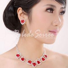 Collier et Boucles d'oreilles-Collier mariée Red star diamant accessoires de mariage