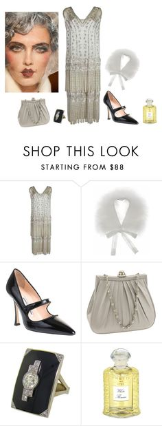 """Silver Glamour"" by lydiadeaddoll ❤ liked on Polyvore featuring John Galliano, Miu Miu, Manolo Blahnik, Nordstrom and Creed"