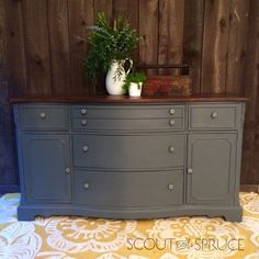 Gray Buffet painted in Ash by Fusion Mineral Paint by Scout and Spruce