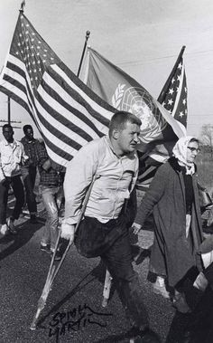 "[""He walked all the way on one leg."" Spider Martin Jim Leatherer from Saginaw, Michigan, a Jewish civil rights marcher, marched the full distance from Selma to Montgomery on crutches. (Civil Rights Photographer Spider Martin) Civil Rights March, Photo Negative, Jewish Men, Civil Rights Movement, History Photos, Historical Pictures, Black History Month, African American History, Civil Rights"