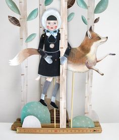 Art doll: hand painted paper puppet of winter girl and fox.. via Etsy.