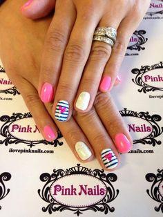 Stripe Heart Nails