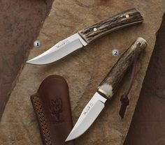 Muela knives, hunting knife, bwe-8A. Handle of deer stag
