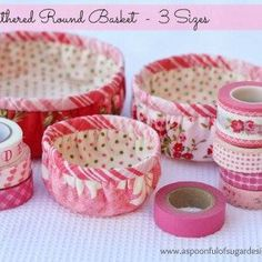 Make a fabric gathered round basket following our step by step photo tutorial. Perfect for storing small supplies or gifts.