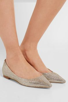 Jimmy Choo - Romy Glittered Canvas Point-toe Flats - Gold - IT37.5