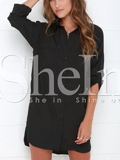 Shop Black Long Sleeve Lapel Button Dress online. SheIn offers Black Long Sleeve Lapel Button Dress & more to fit your fashionable needs.