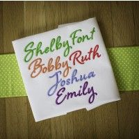 Embroidery font made with Laura Worthington front named Shelby.