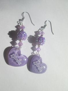 Lavender barbie hearts  earrings with Fancy beads / ITEM 1355