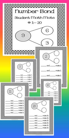 These cute and fun Number Bond Math Mats are sure to engage your students as they explore and master the part-part-whole relationships of numbers 1-20. Great for a number sense math center. Great when laminated and used with dry erase!