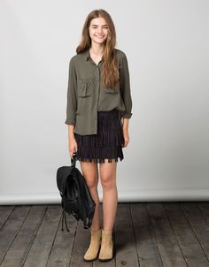 BSK long sleeve shirt with pocket - Shirts & Blouses - Bershka Israel