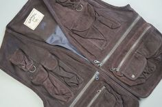 Men s CAMEL Shooting Hunting Fishing Leather Waistcoat Size L Brown Chest 44-46