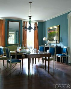 color scheme for living room . Greek Revival Interiors - Julia Reed's New Orleans House - ELLE DECOR. Blue and orange dining room. Dining Room Design, Dining Room Table, Dining Rooms, Dining Area, Elle Decor, H Design, House Design, Orange Dining Room, Orange Curtains