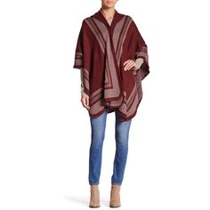 Just Jamie Hooded Ruana (53 CAD) ❤ liked on Polyvore featuring outerwear, cape coat, red hooded cape, hooded cape, hooded cape coat and red cape coat