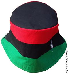 This unisex bucket hat replicates the Pan-African flag. All fabrics were washed before creating this project. The red, black, and green fabrics are poly-cotton (65%/35%). The exterior of the hat is embroidered with my logo; the interior is embroidered with my name. The size of the