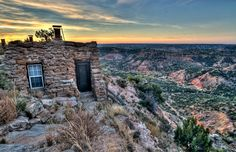 November sunrise at Palo Duro Canyon State Park's lighthouse cabin in Texas