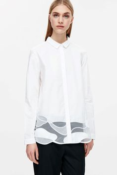 69 COS image 2 of Shirt with lace-embroidered hem in White