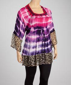 Love this Fuchsia & Navy Tie-Dye Square Neck Tunic - Plus on #zulily! #zulilyfinds