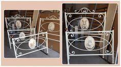 Lettino in ferro battuto modello Palio con decori fatti a mano in tema natura per cameretta bambini.