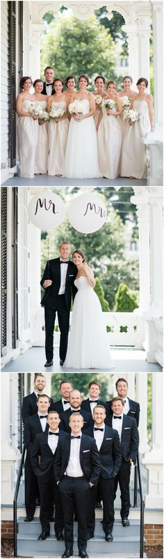 Southern wedding fashion, classic, strapless wedding dress, black bow-ties, formal off-white bridesmaid dresses // Melissa Maureen Photography