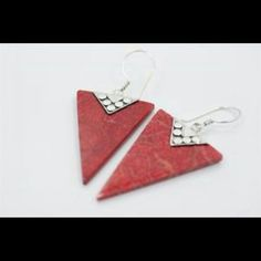 NWOT Sterling Silver Genuine Red Coral Earrings NWOT Never Worn .925 Sterling Silver/Red Coral Earrings 3 Inch With Cute Detailing. Jewelry Earrings