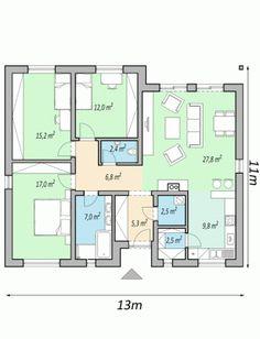 projekt rodinneho domu LIVE2 3d House Plans, Design Case, Home Furniture, Floor Plans, House Design, Cabin, How To Plan, Modern, Live