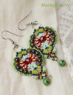 Beaded micro macrame earrings, bohemian, dangle earrings, boho chic, beadwoven…