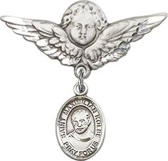 Sterling Silver Baby Badge with St Maximilian Kolbe Charm and Angel wWings Badge Pin * Read more  at the image link.