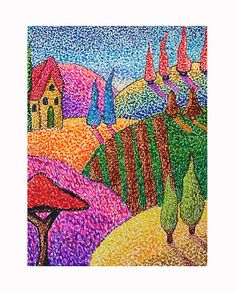 Felt tip pens- pointillism.  I've done this with Q-tips and paint, but I bet this is a lot neater!