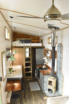The rustic 272 sq ft tiny home available at the WeeCasa Tiny House Resort in Colorado Tiny House Loft, Tiny House Living, Tiny House On Wheels, Home And Living, Airstream, Shack House, Warehouse Living, Little Houses, Tiny Houses