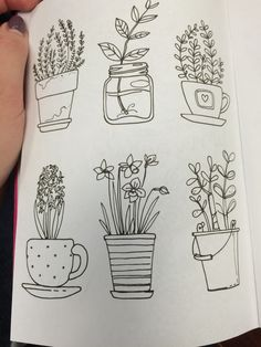 Flower pot doodles                                                                                                                                                                                 More Easy Flower Drawings, Easy Pen Drawing, Easy Doodles Drawings, Ink Doodles, Simple Doodles, Easy Doodle Art, Cute Drawings, Easy Sketches, Plant Sketches