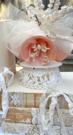 Cake Topper Vintage Shabby Chic Wedding Bell