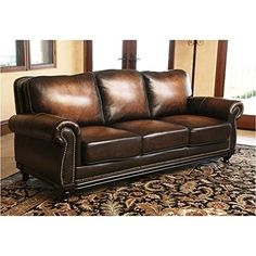 Abbyson Living Barclay Hand Rubbed Leather Sofa *** You can find more details by visiting the image link.Note:It is affiliate link to Amazon.