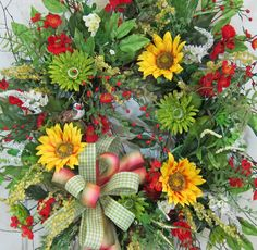 XL Sunflower Front Door Wreath for Spring and by LadybugWreaths, $199.97
